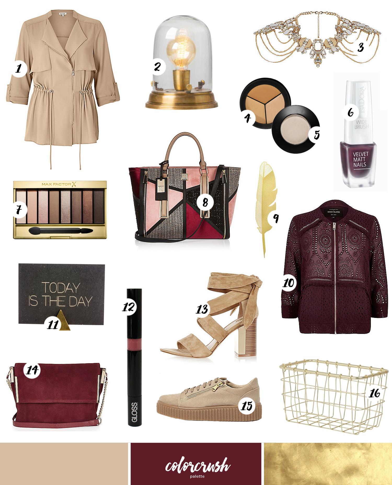 ColorCrush #1: Shoppingtips i vinrött, guld & nude