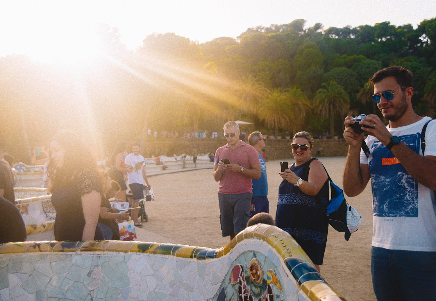 Tourists at Park Guell