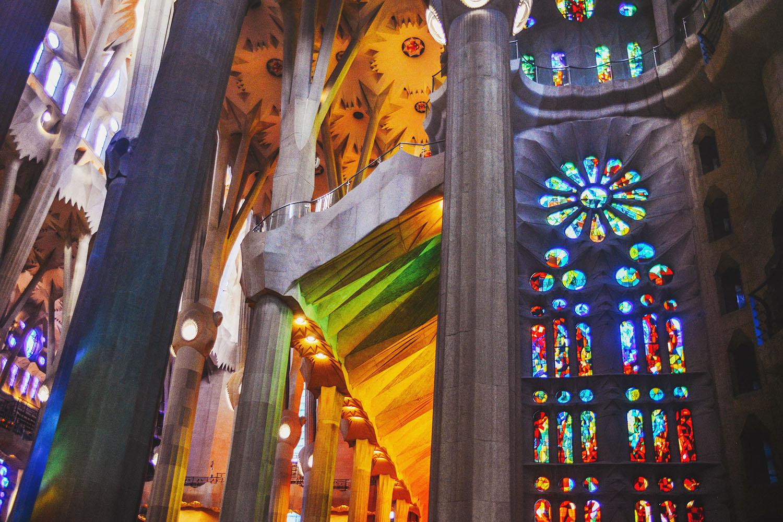 Utanför La Sagrada Familia i Barcelona