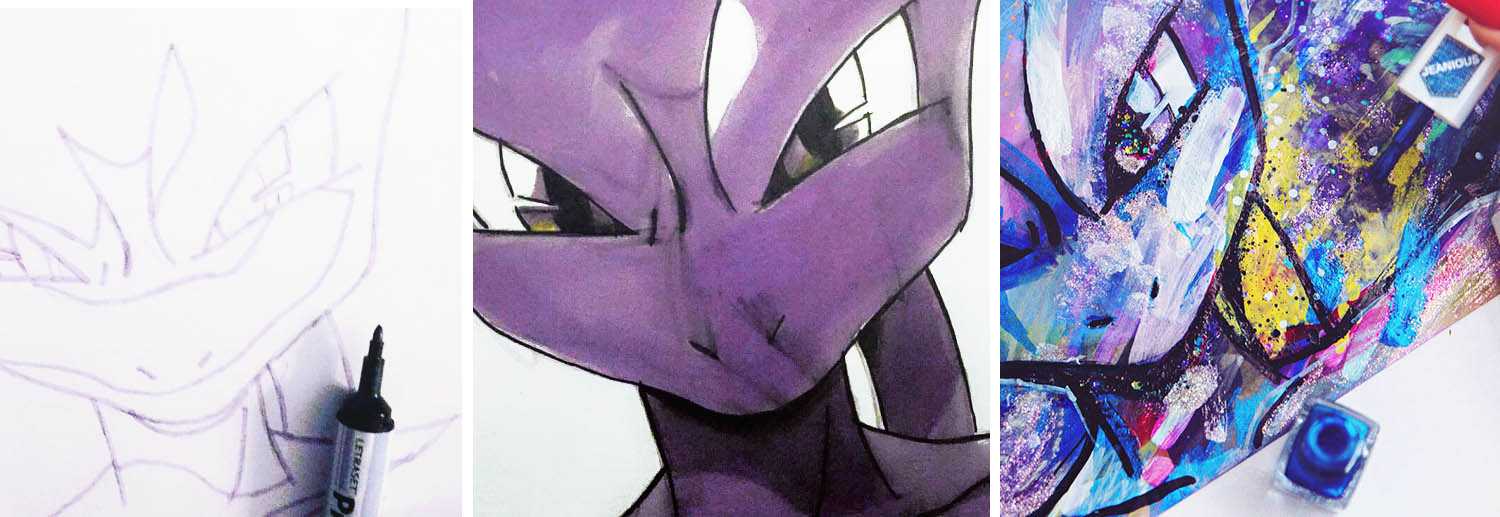 DIY: Nail Polish Mewtwo Painting