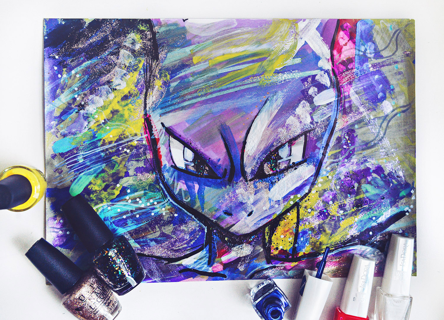 DIY: Nail Polish Painting | Pokémon Go Mewtwo Inspired Painting