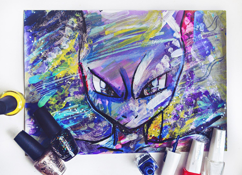 DIY: Nail Polish Painting | Pokémon Go Mewtwo Inspired Painting