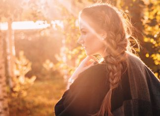 French Side Braid + Poncho in the Sunset