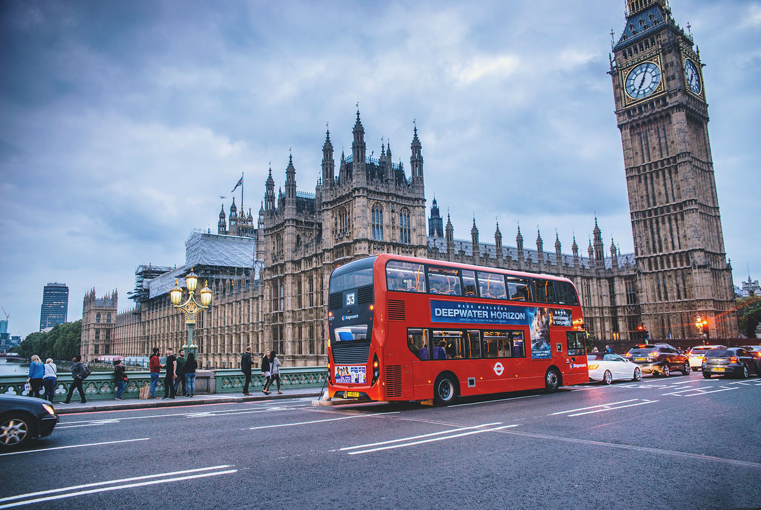 Westminister, London - A red bus & Big Ben