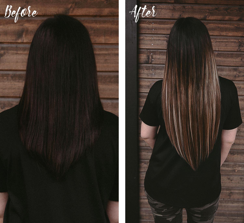 Före och efter hårförlängning - Rapunzel of Sweden