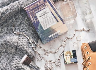 UK Travel Essentials - Flatlay with cosy knit, Timberland & my essentials to United Kingdom