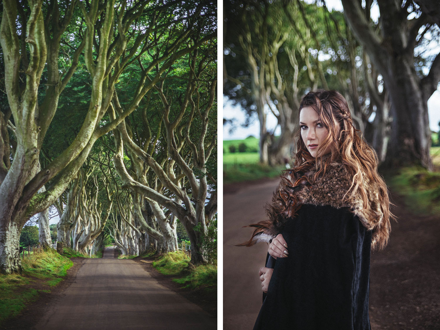 The Dark Hedges in Northern Ireland - Game of Thrones Filming Location The Kingsroad + woman with cape