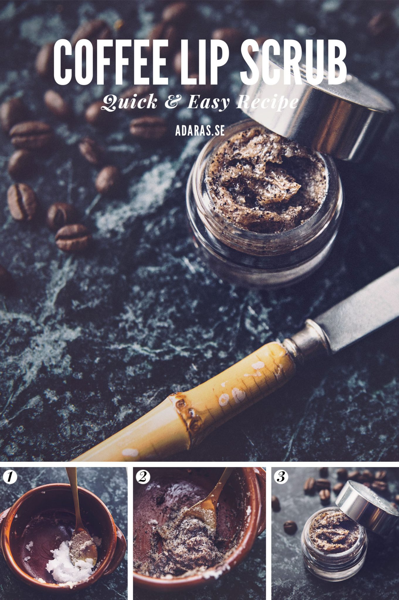 DIY: Coffe Lip Scrub with coffee grounds, coconut oil and sugar