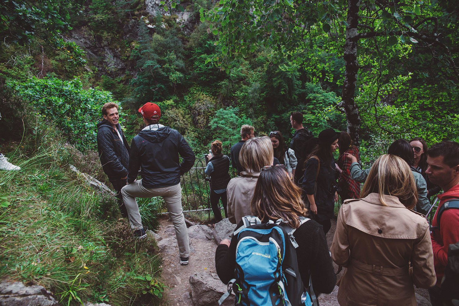 Travel bloggers by the upper viewpoint at the Fall of Foyers