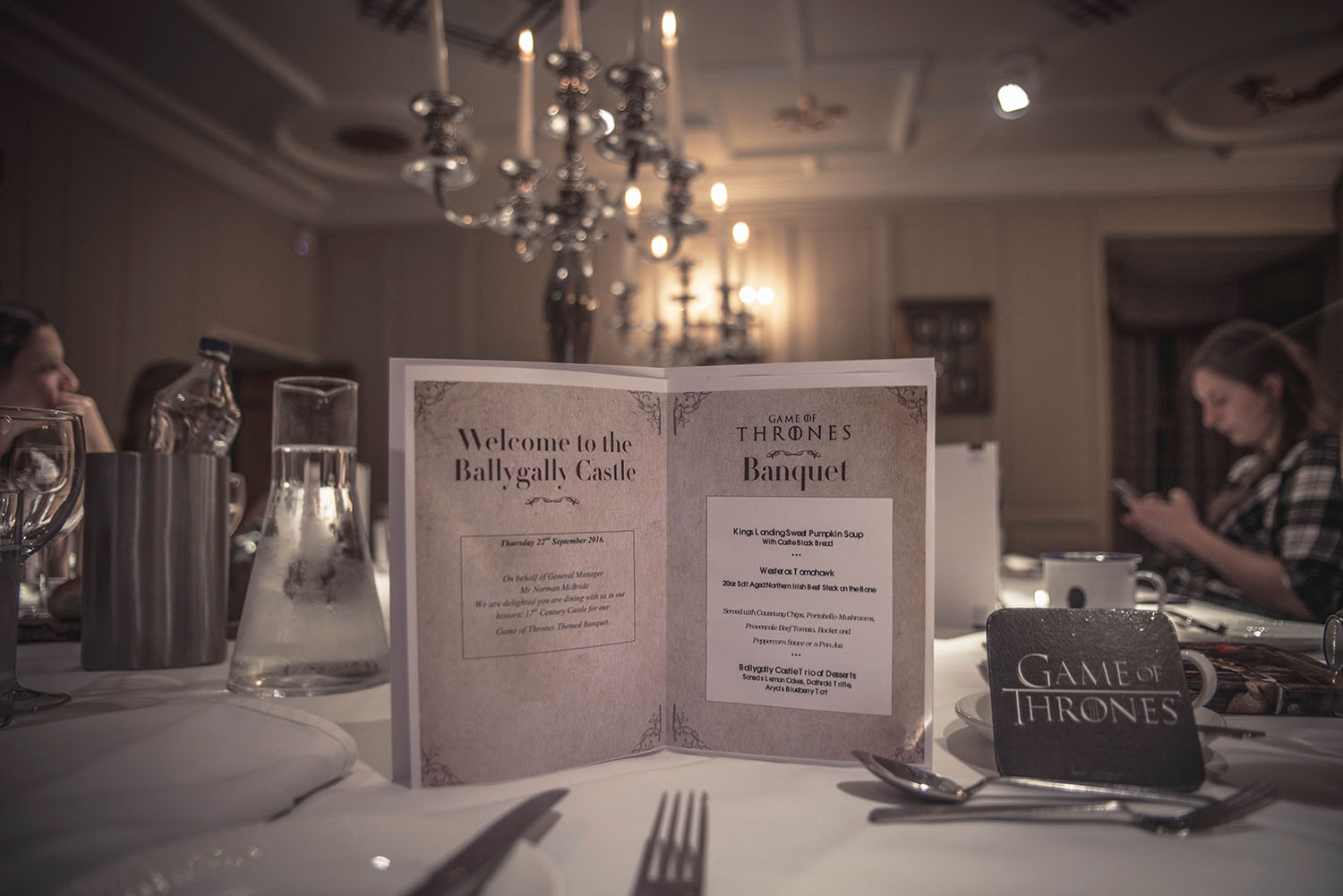 Ballygally Castle Game of Thrones banquet with Valyrian Steel