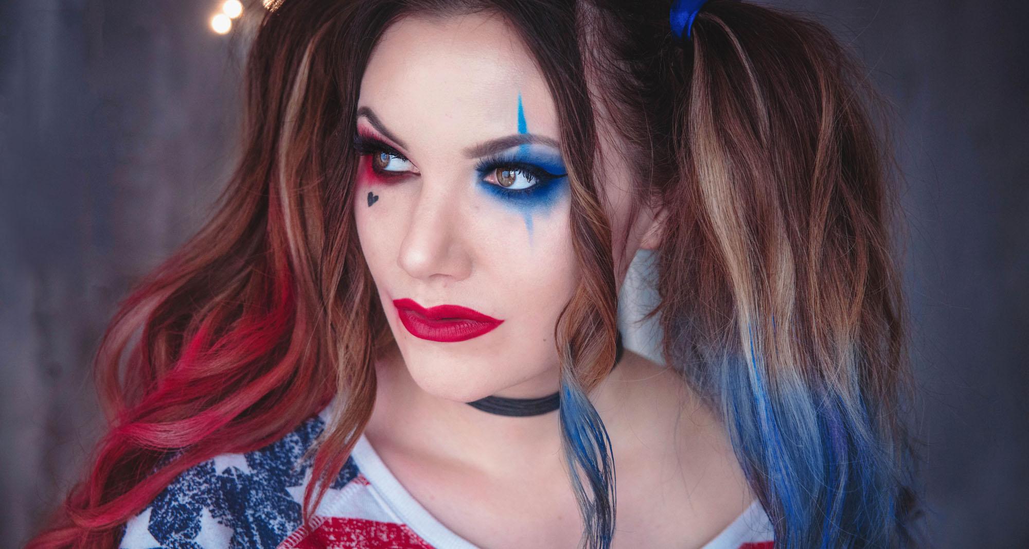 Inspireras av Harley Quinns tuffa makeup till Halloween. Enkel sminkning ... 9e6855b651135