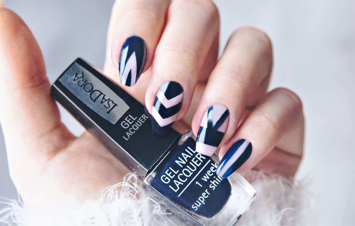 Negative Space Nail Art with IsaDora 269 Blue Velvet