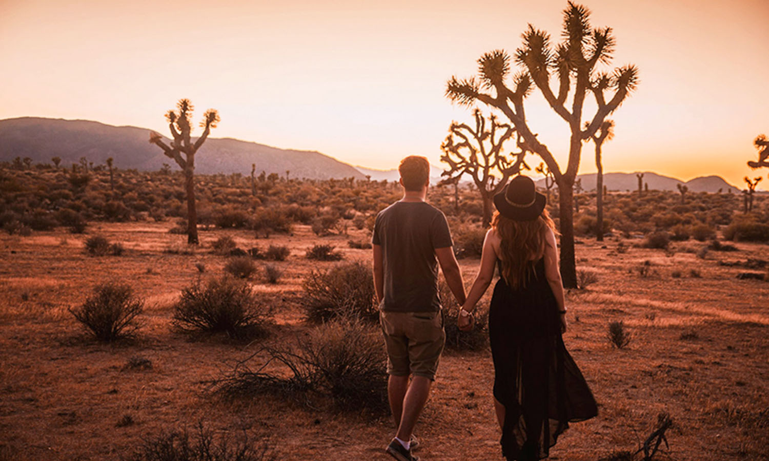 Swedish Travel Blog Couple standing in sunset in Joshua Tree National Park