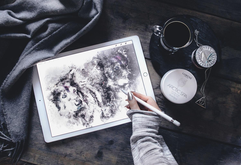 Digital drawing in Procreate using an iPad Pro