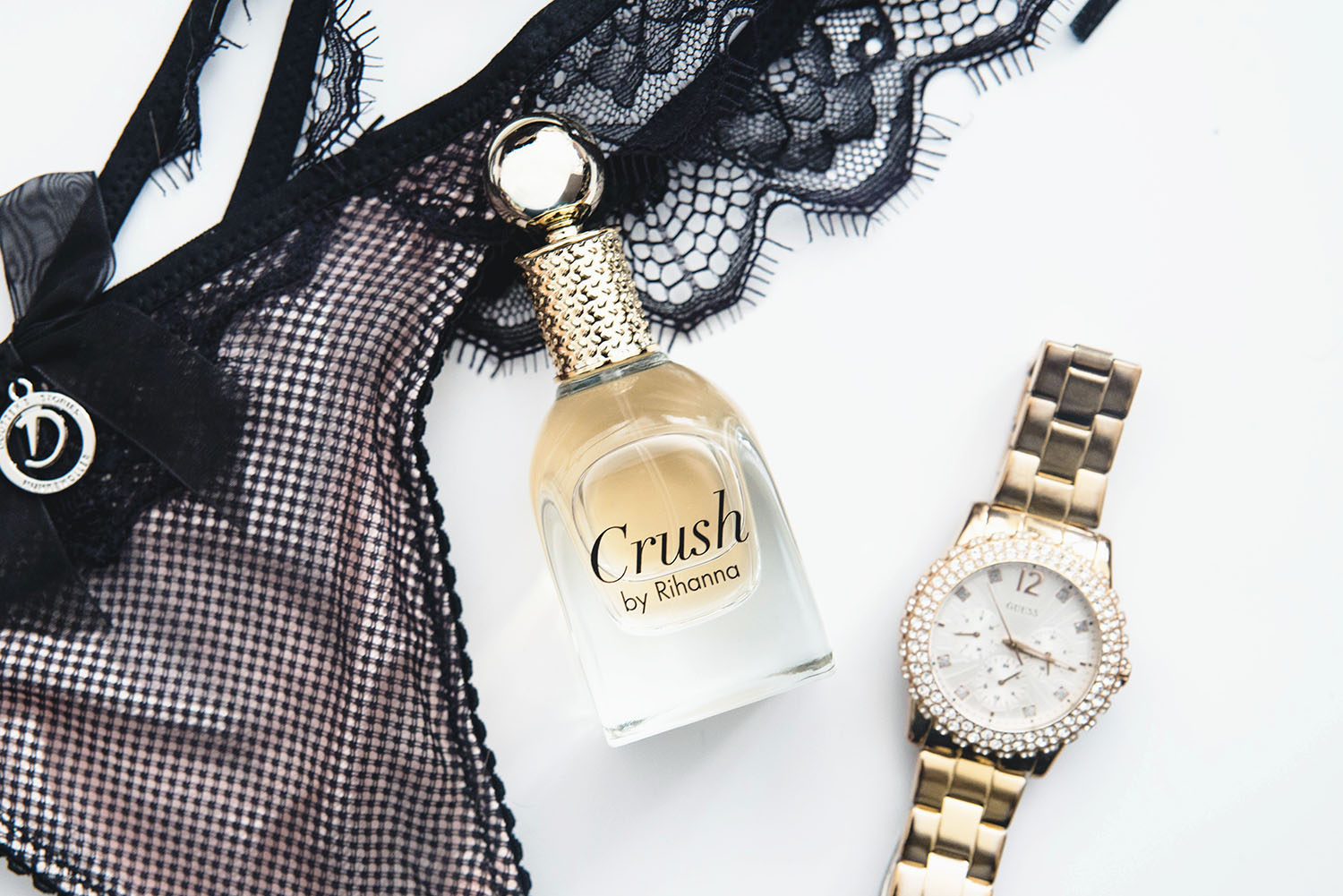 Flatlay with Crush by Rihanna & Guess Watch