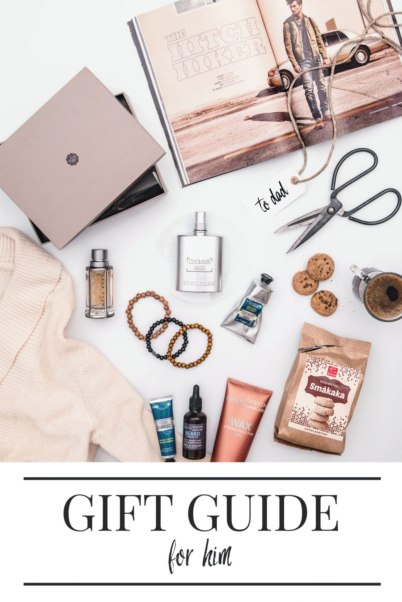 Flatlay with gifts for him / Presenttips till honom