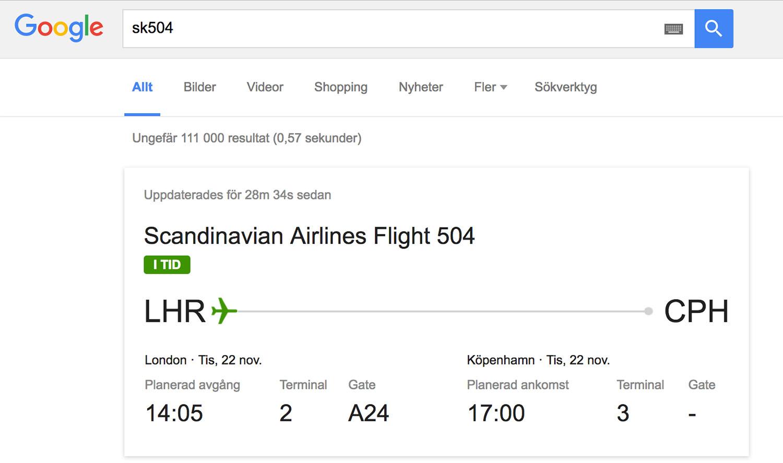 Google Flight Number for instant status update