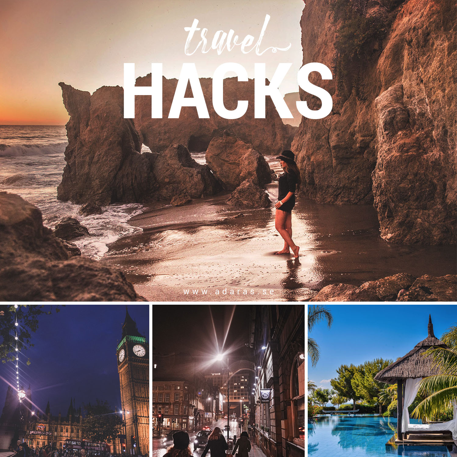 Smarta travel hacks / Collage with travel pictures