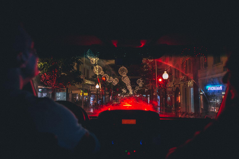 Christmas light through car window