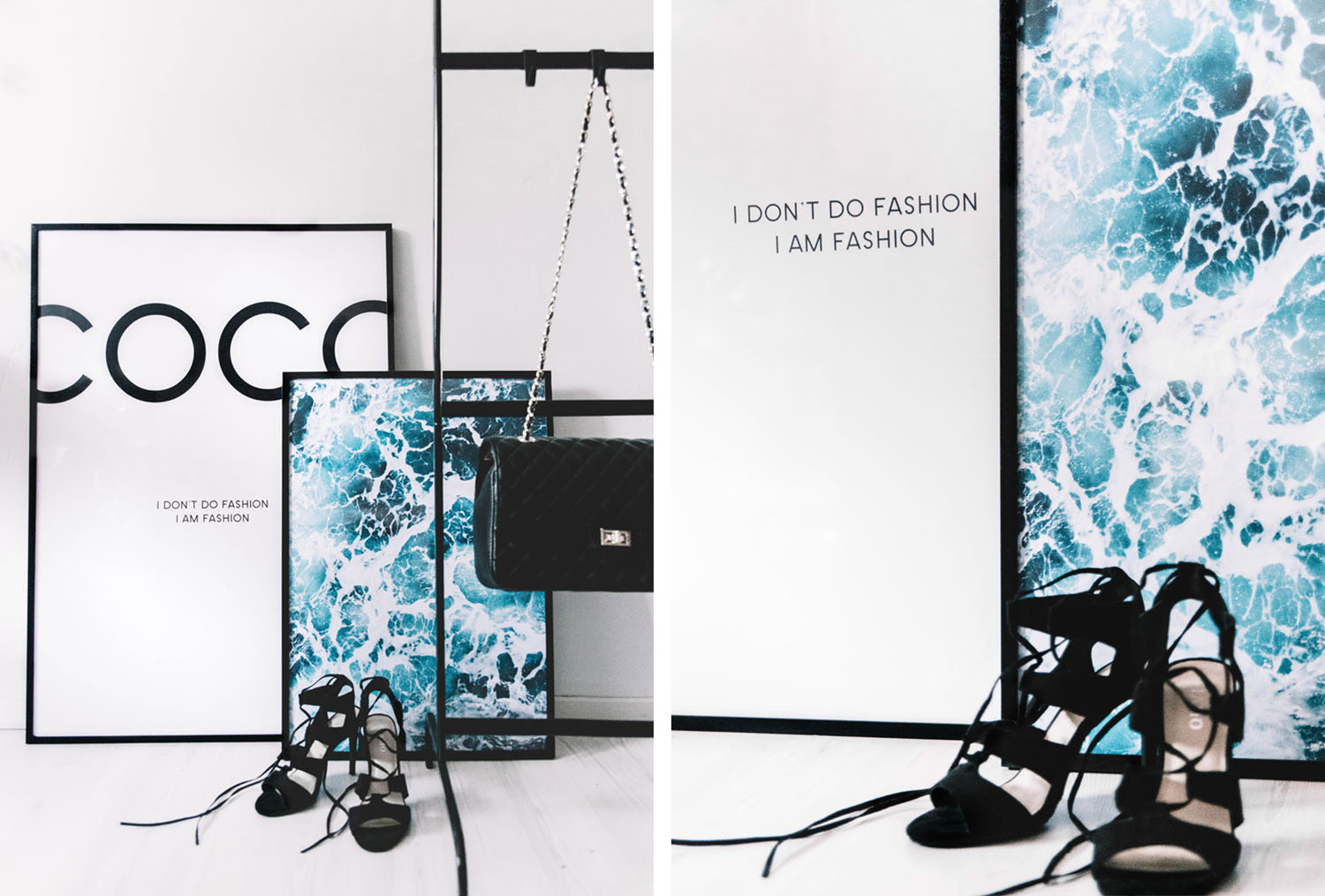 Coco Chanel Poster & Ocean Poster from Desenio on floor with high heels