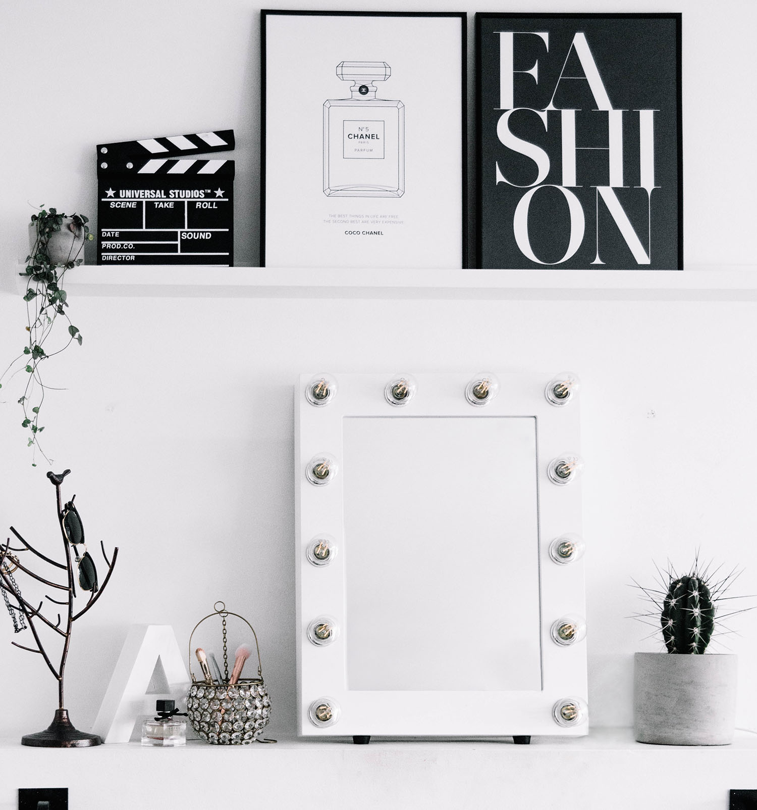 Makeup mirror with lights and Fashion & Chanel Poster - Minimalistic Interior Design
