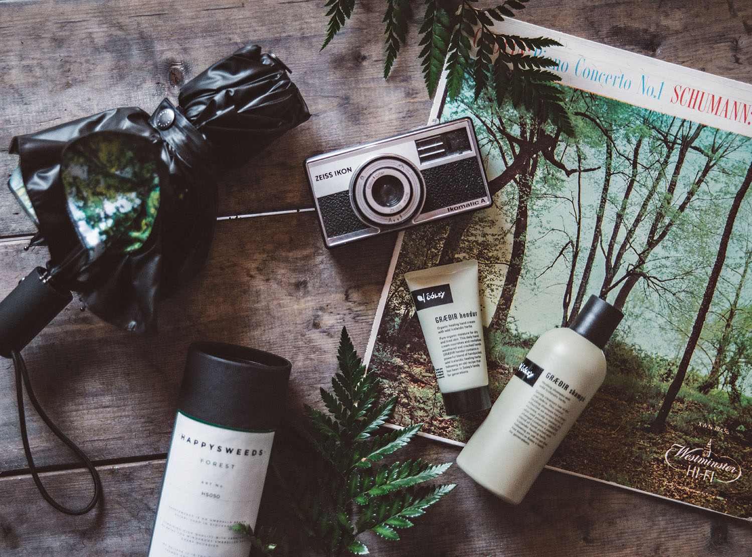 Flatlay with Happysweeds Forest Umbrella & Soley GRÆÐIR hendur & GRÆÐIR shampó