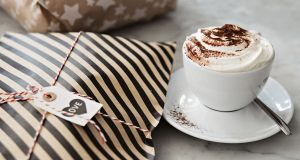 Christmas Gifts with hot chocolate and cream