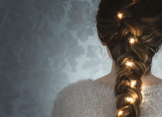 Light String in Braided Hair