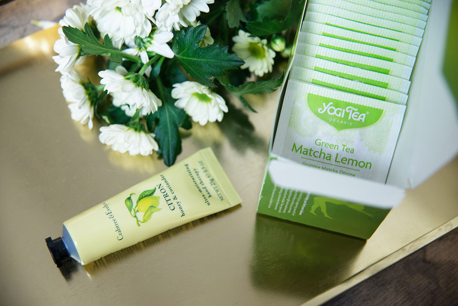 Crabtree & Evelyn Citron Hand Therapy Cream & Yogi Tea Green Tea Matcha Lemon