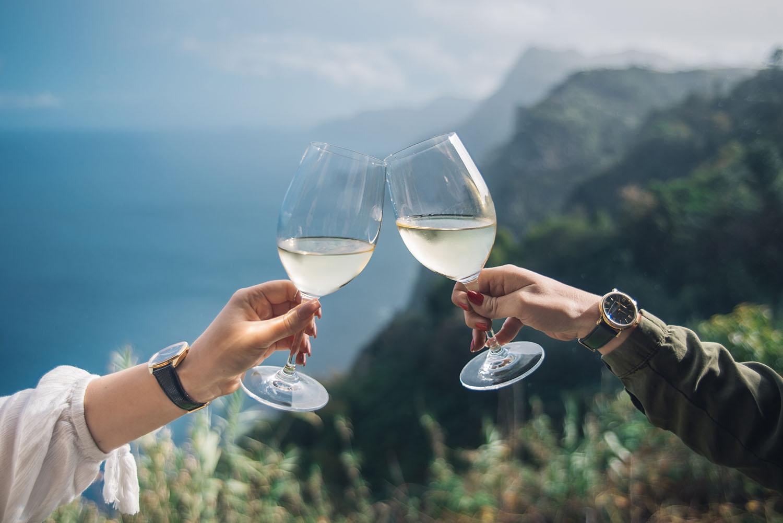 Toast with Madeira wine at Quinta do Furão