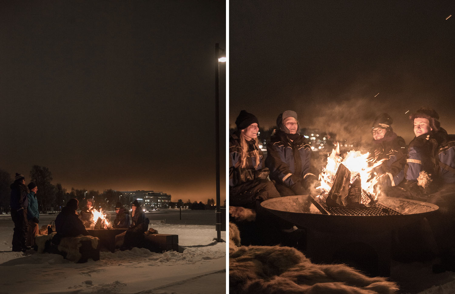Bloggers sitting by fire on winter beach in Nallikari, Finland