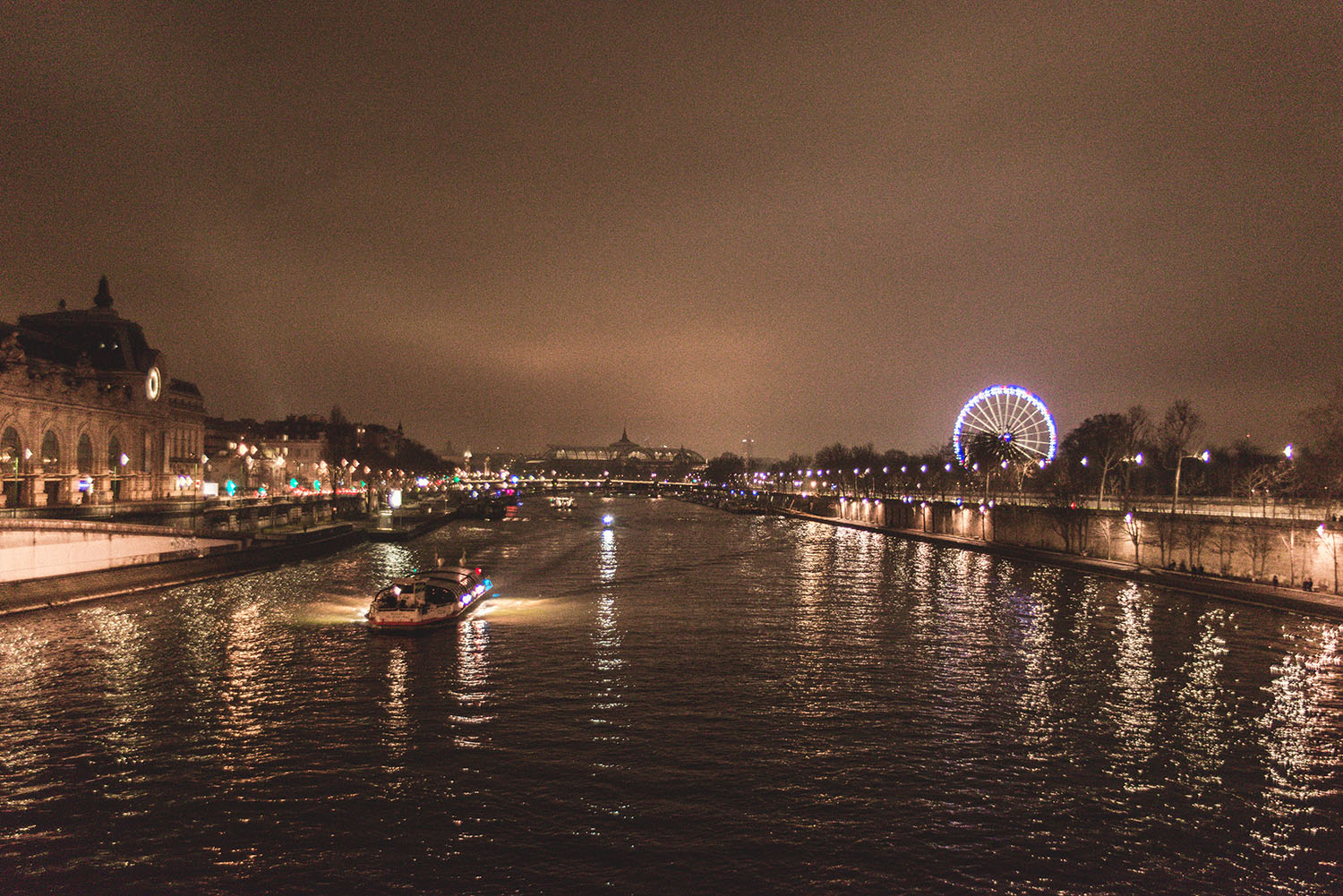 Paris by night. View from Pont Royal Bridge