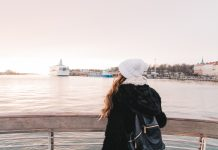 Woman with cute beanie on Ferry to Suomenlinna Sea Fortress