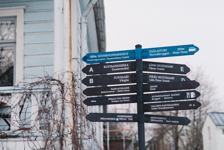 Road signs in Suomenlinna Island - Sveaborgs fästning