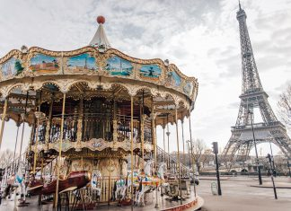 Carrousel in front of The Eiffel Tower in Paris