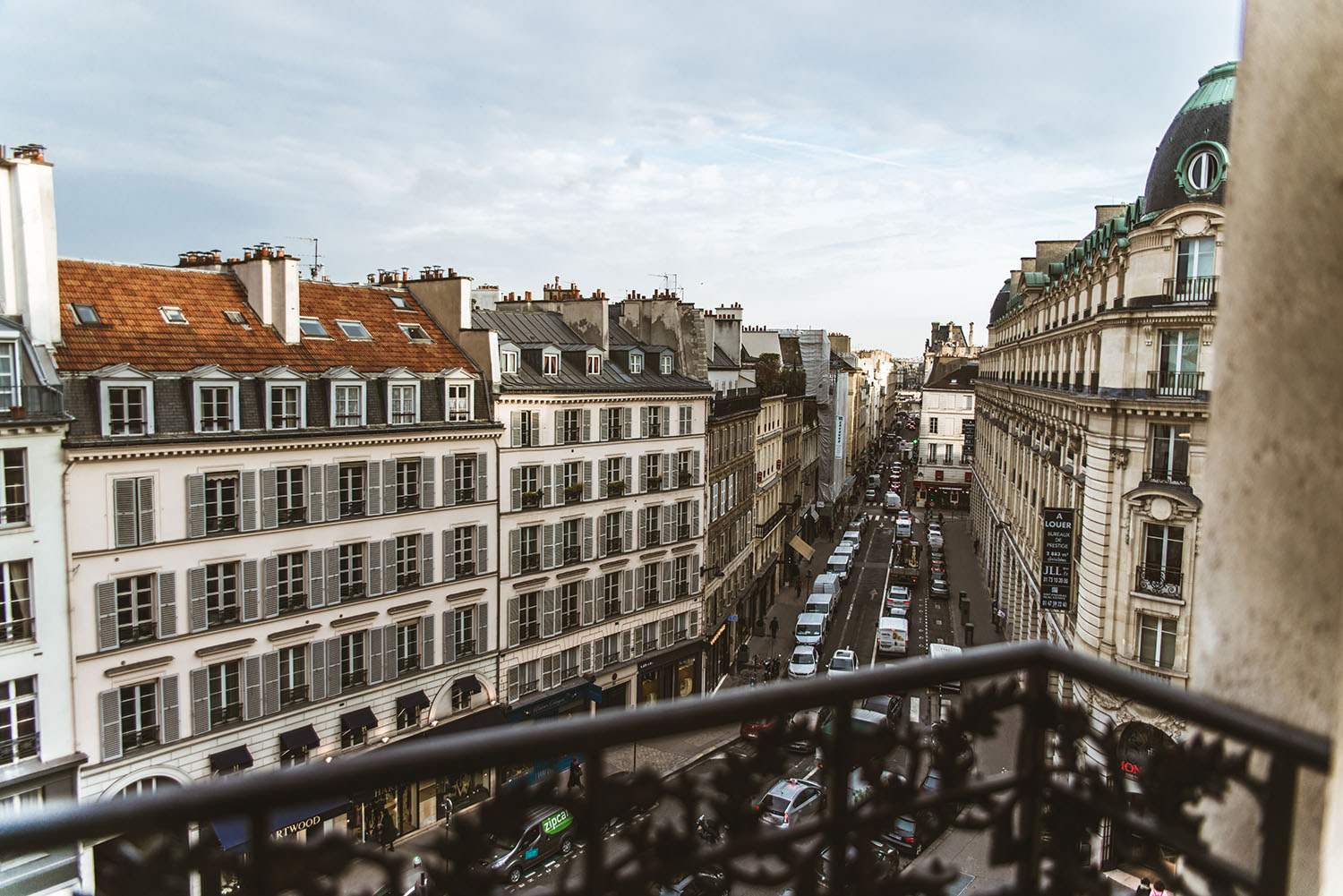 View from french balcony in Paris at Hotel Pont Royal
