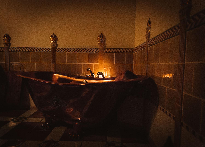 Woman in bathtub at Flamingo Spa in Vantaa