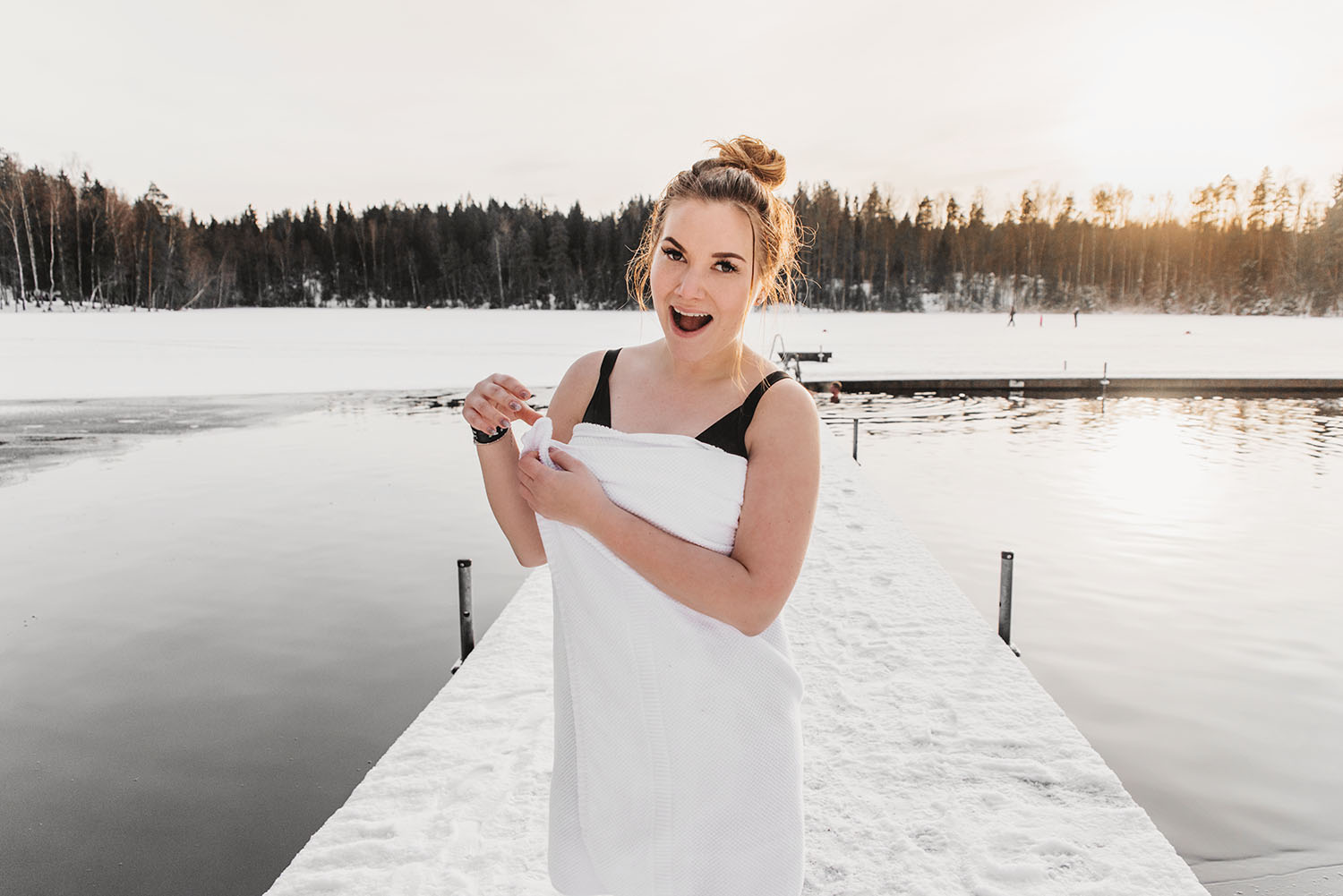 Woman after Ice Swimming at Kuusijärvi Lake in Vantaa