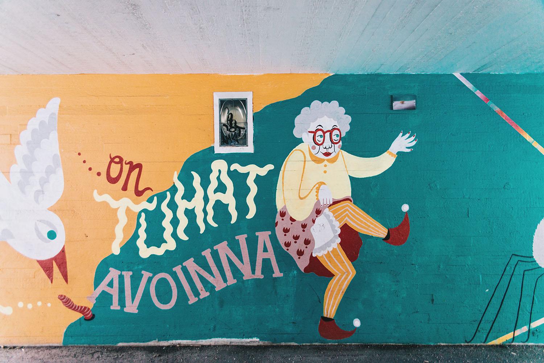 Colorful street art at Myyrmäki railway station