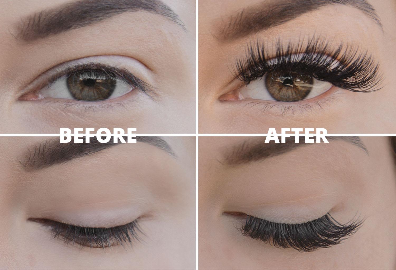 Before & After Eyelash Extensions - Före & Efter Ögonfransförlängning