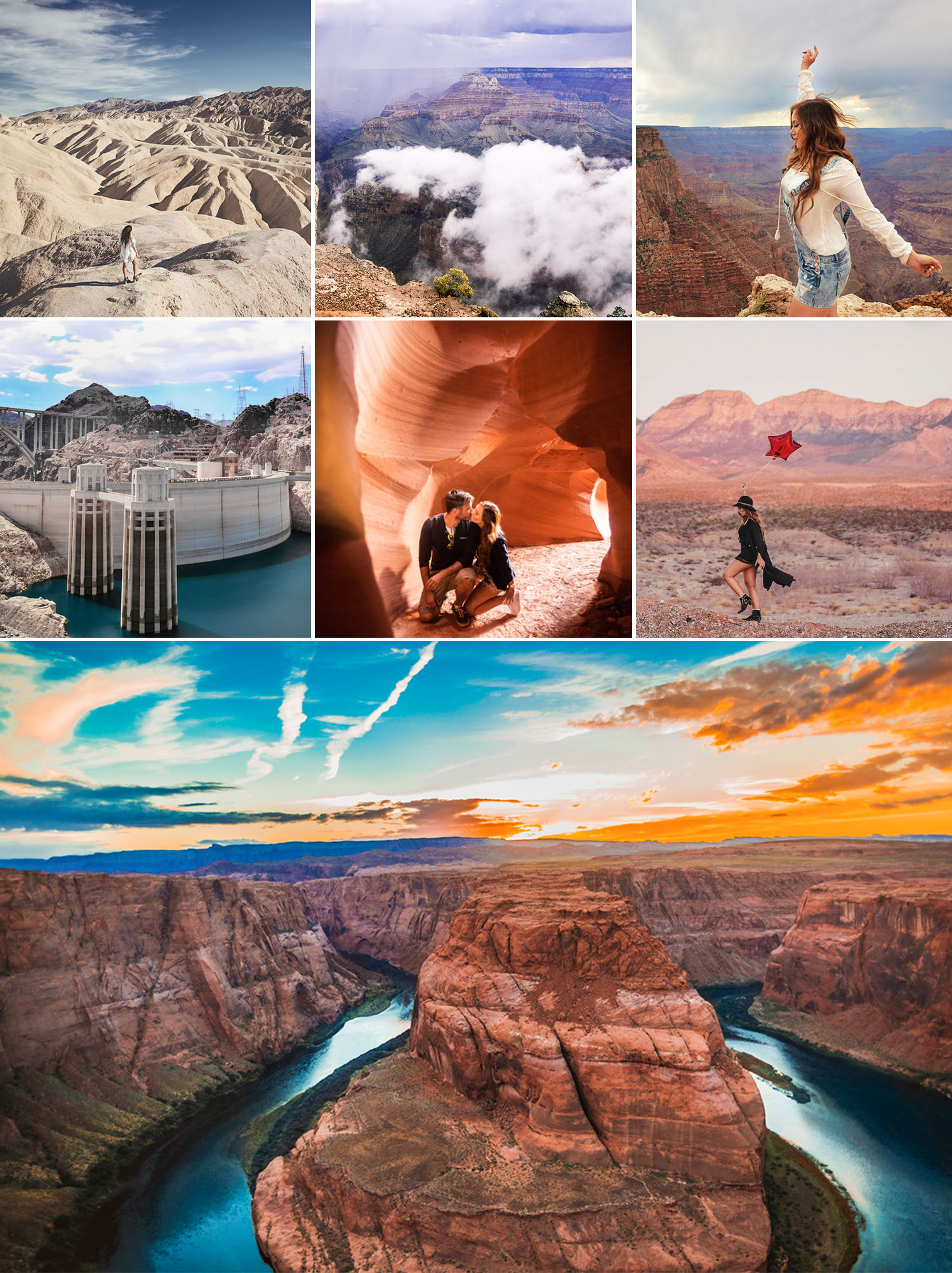 Collage with Magical Places to visit outside Las Vegas