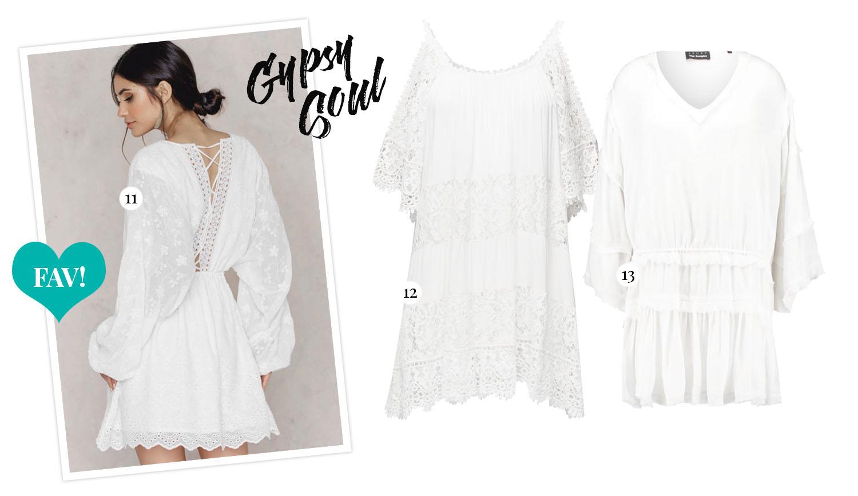White Bohemian Dresses - Vita boho-studentklänningar