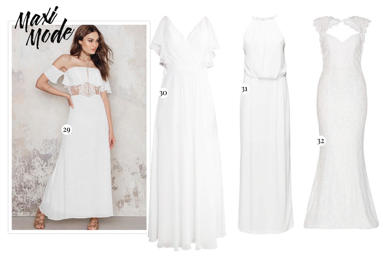 White Maxi Dresses - Vita långa studentklänningar