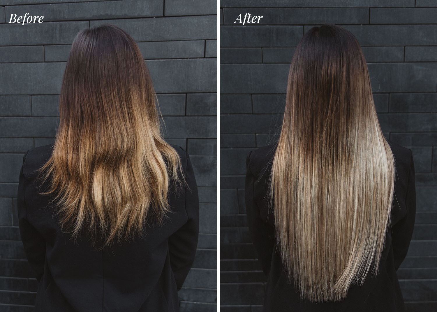 Before & After Rapunzel of Sweden Hair Extensions