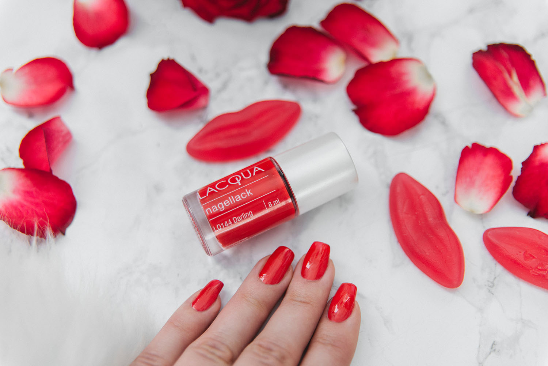 Flatlay with Lacqua Darling Red Nail Polish
