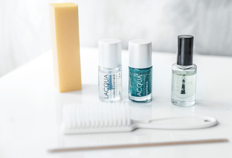 LACQUA Nagellack, putsblock, nagelborste, manikyrpinne & L.Y.X Nail Drops