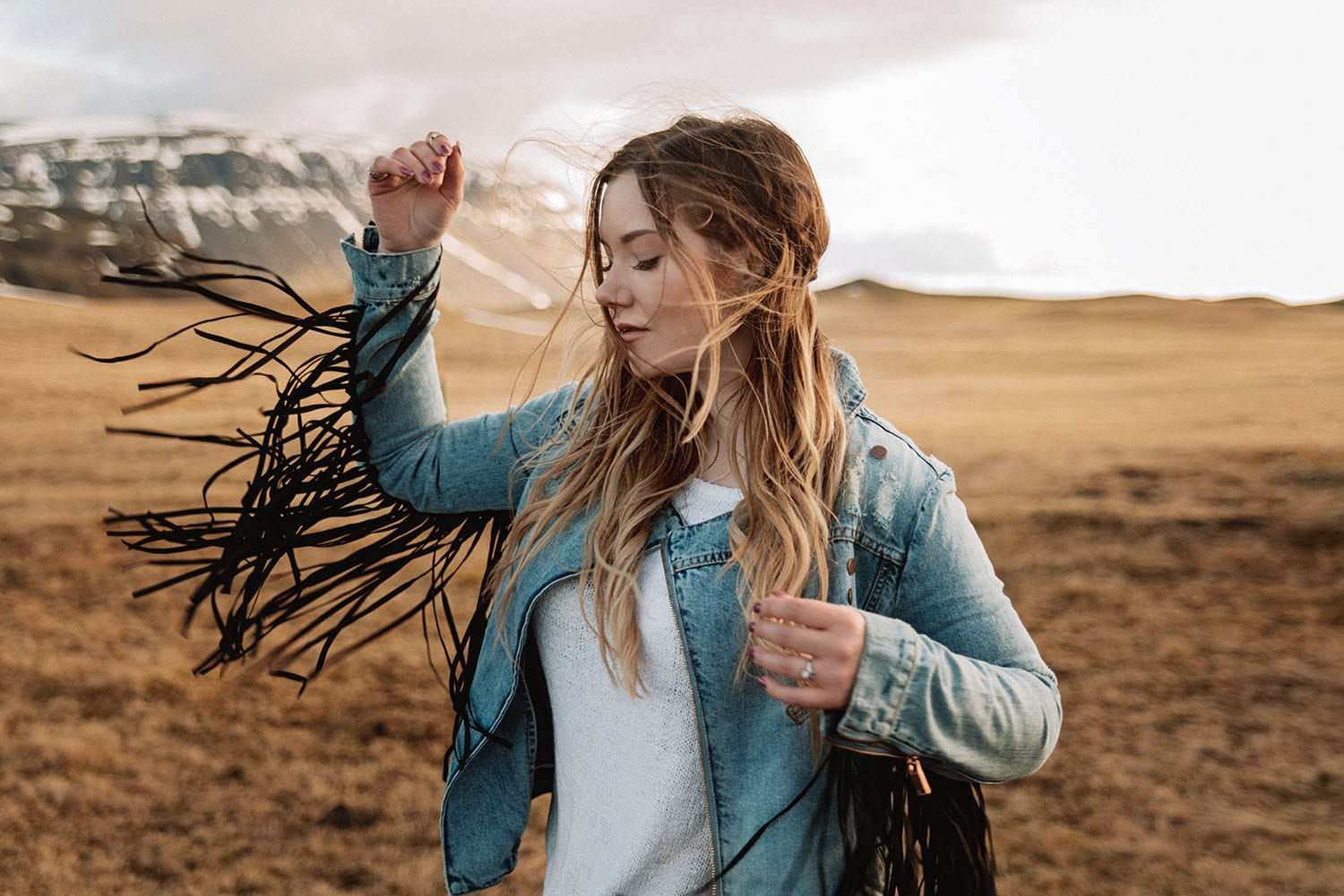 Woman with One Teaspoon Fringe Jacket on Iceland