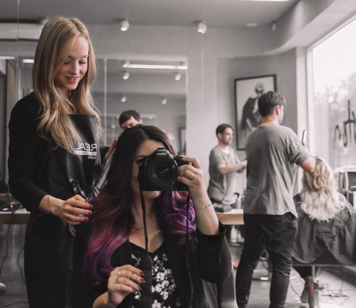 Purple balayage & #Colorfulhair with L'Oreal Professionnel at salon in Stockholm