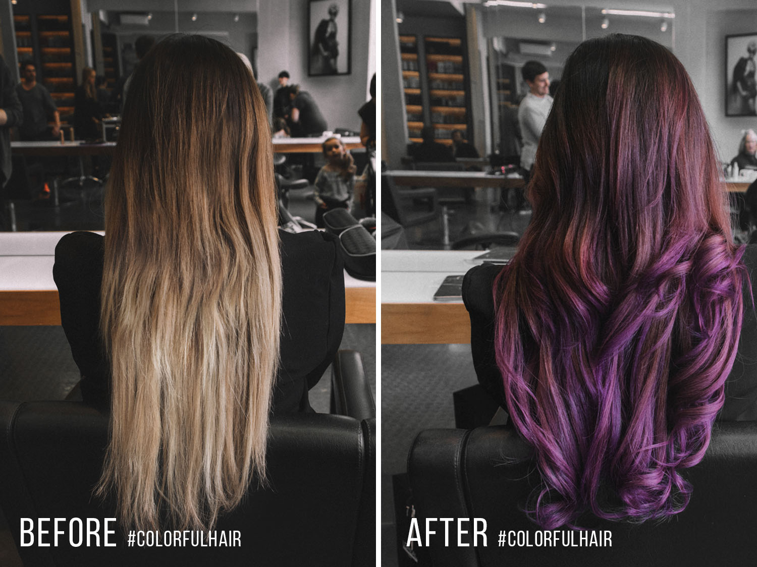 Before & After Purple balayage & #Colorfulhair with L'Oreal Professionnel