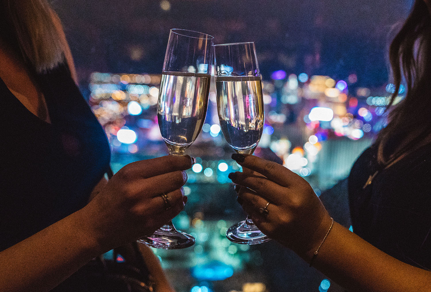 Champagne toast at Delano Skyfall Lounge in Las Vegas